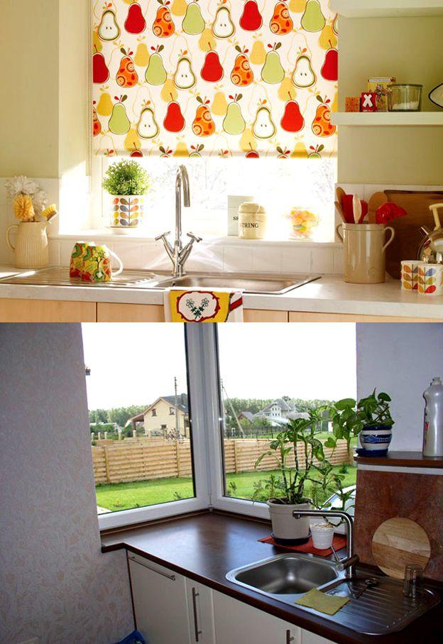 фото у окна мойкой в шторы с кухне