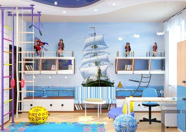 Морской стиль в интерьере детской фото