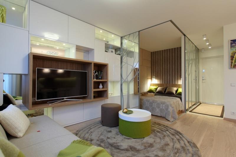 Открытая планировка спальня гостиная