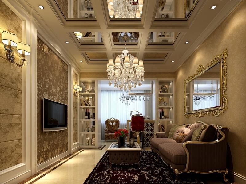 Интерьер гостиной с зеркалом