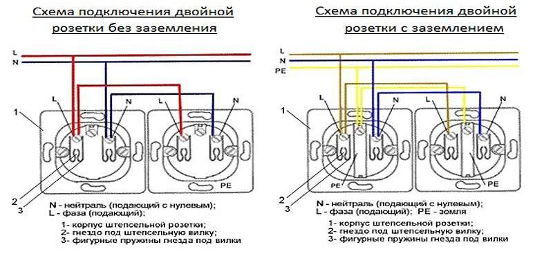 Схема подключения двойной розетки 567